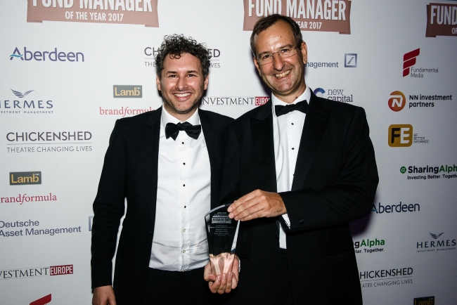 James Foster and Jacob de Tusch-Lec receiving their Investment Week's Fund Manager of the Year Award